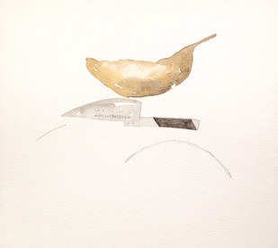 Untitled 1447 by Arvind Patel, Minimalism Painting, Watercolor on Paper, Beige color