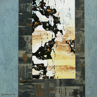 Untitled by Krishna Pulkundwar, Abstract Painting, Acrylic on Canvas, Green color