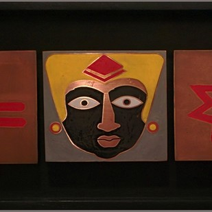 Shakti by Milind Thakur, Decorative Painting, Metal, Brown color