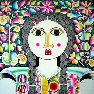 Flowers & Woman by Ravi Kattakuri, Decorative Painting, Acrylic on Canvas, Green color