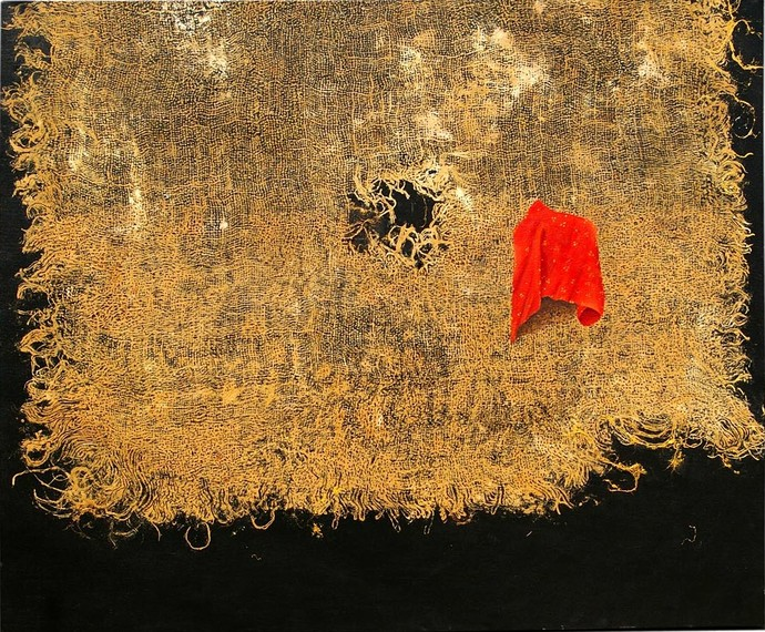 Red Cloth by Geetha Ramasesh, Impressionism Painting, Oil on Canvas, Brown color