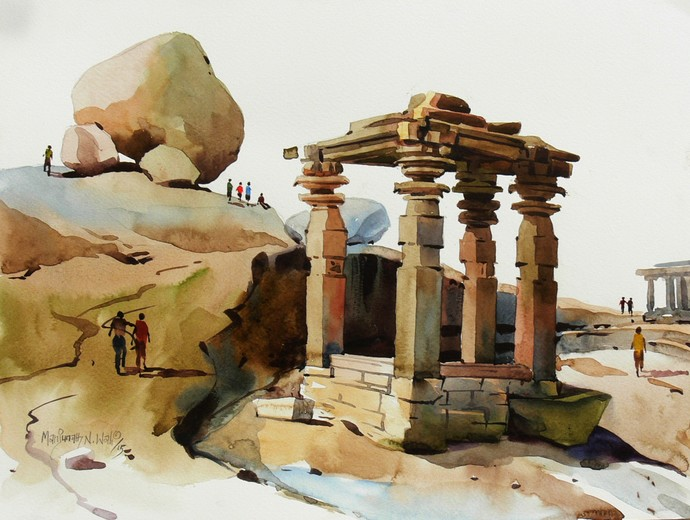 Hampi 01 by Manjunath N Wali , Impressionism Painting, Watercolor on Paper, Brown color