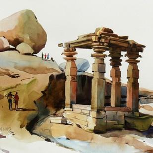 Hampi 01 Digital Print by Manjunath N Wali ,Impressionism
