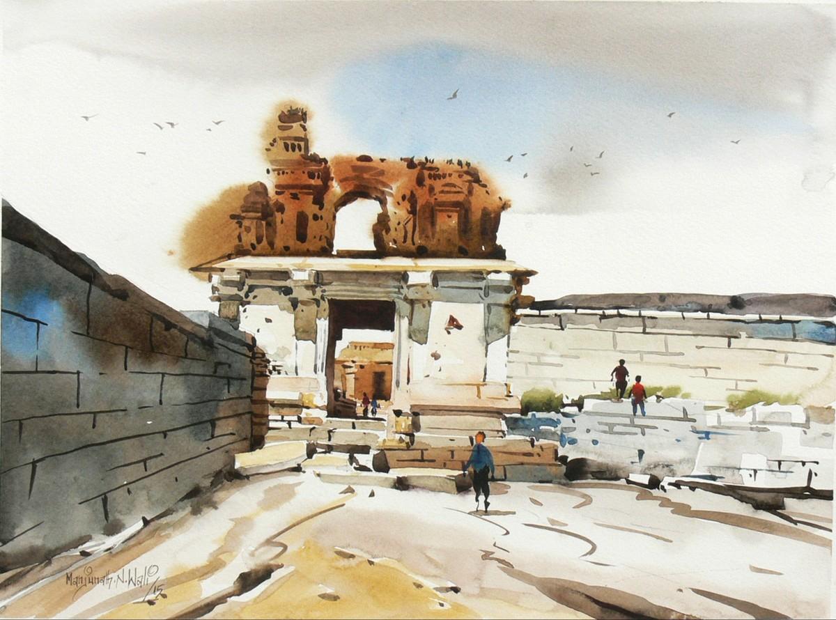 Hampi 02 Digital Print by Manjunath N Wali ,Impressionism