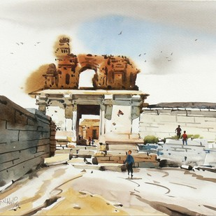 Hampi 02 by Manjunath N Wali , Impressionism Painting, Watercolor Wash on Paper, Beige color