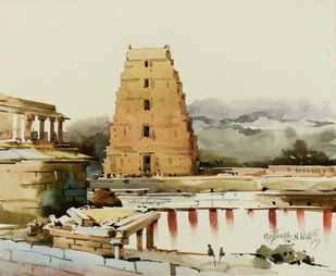 Hampi 03 by Manjunath N Wali , Impressionism Painting, Watercolor on Paper, Beige color