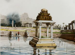 Hampi 04 by Manjunath N Wali , Impressionism Painting, Watercolor on Paper, Gray color