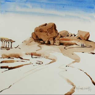 Hampi 05 by Manjunath N Wali , Impressionism Painting, Watercolor on Paper, Beige color