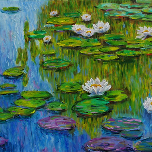 Water Lily 8 by Sulakshana Dharmadhikari, Impressionism Painting, Oil on Canvas, Green color