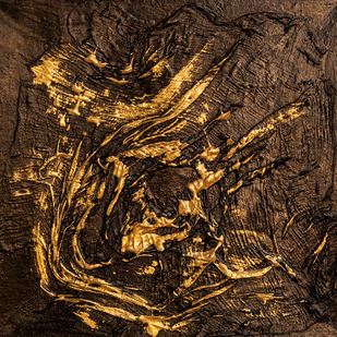 Untitled 5 by Smita Biswas, Abstract Painting, Mixed Media on Canvas, Brown color