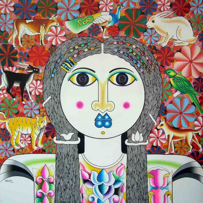 Anusha by Ravi Kattakuri, Decorative Painting, Acrylic on Canvas, Brown color