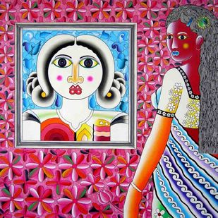 Red Girl by Ravi Kattakuri, Decorative Painting, Acrylic on Canvas, Pink color