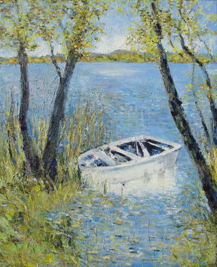 Waterscape With Boat by Animesh Roy, Impressionism , Oil on Linen, Green color