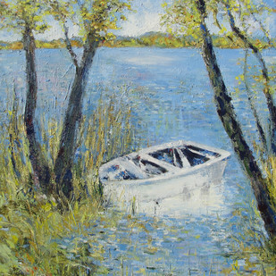 Waterscape With Boat Digital Print by Animesh Roy,Impressionism