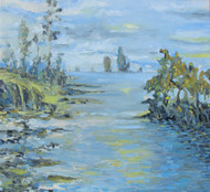Waterscape by Animesh Roy, Impressionism Painting, Oil on Linen, Cyan color