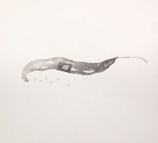 Untitled 1454 by Arvind Patel, Minimalism Drawing, Watercolor on Paper, Gray color
