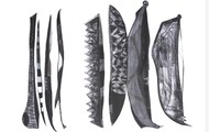 Tribal Utensils by Ankur Khare, Minimalism Drawing, Charcoal on Canvas, Gray color