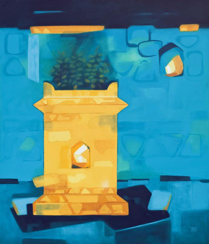 Tulsi by Dipak Asole, Decorative Digital Art, Oil on Canvas, Cyan color