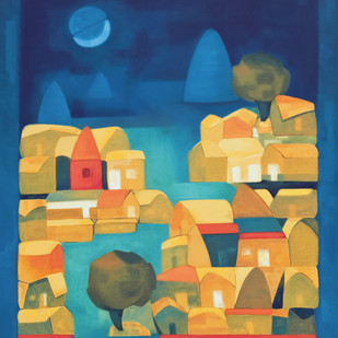 Moon Light by Dipak Asole, Decorative Digital Art, Oil on Canvas, Blue color