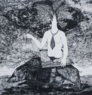 The Cloud Of Glory Will Hide The Sun by Ryan Abreu, Illustration Printmaking, Etching on Paper, Gray color