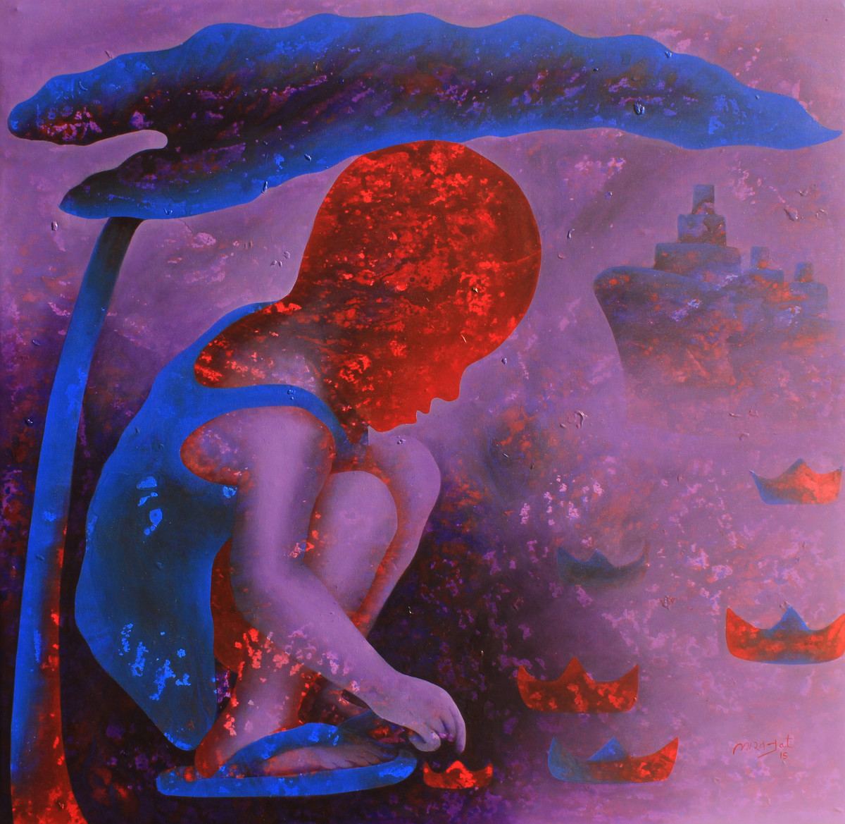 Athkheliya by Lakhan Singh Jat, Decorative, Impressionism Painting, Acrylic on Canvas, Purple color