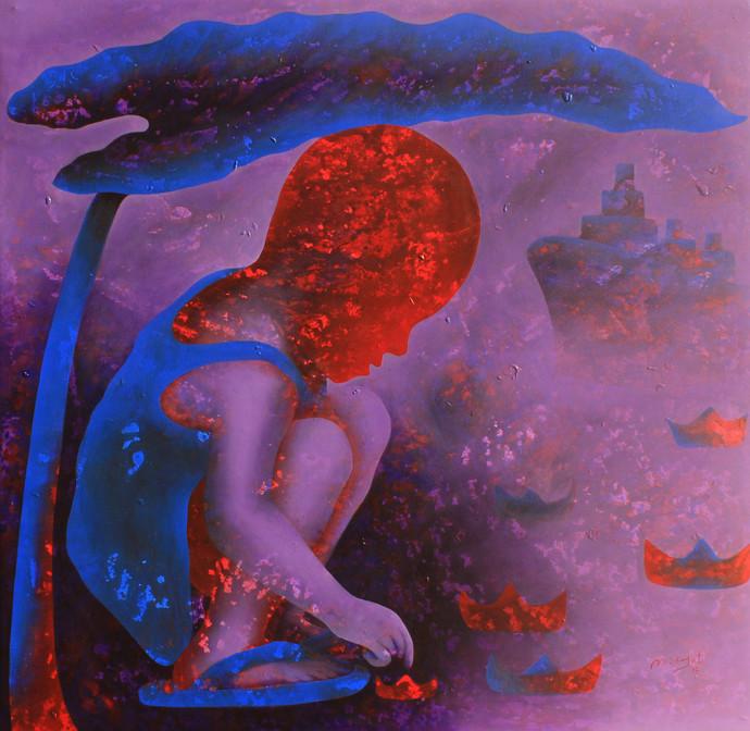 Athkheliya by Lakhan Singh Jat, Decorative, Impressionism Painting, Acrylic on Canvas, Purple color