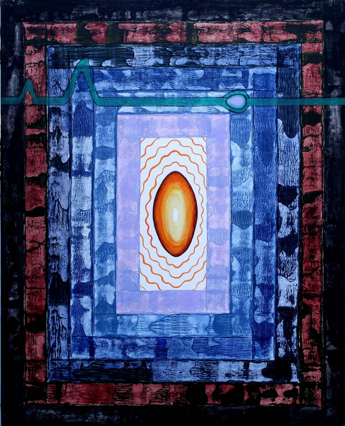 Enter The Depth 5 by Chinmoy Pandit, Abstract Painting, Acrylic on Canvas, Blue color