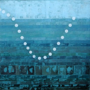 Thrown Object, Water & Vibration by Chinmoy Pandit, Abstract Painting, Acrylic on Canvas, Cyan color