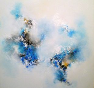 Ice blue by Ranjit Patil, Abstract Painting, Acrylic on Canvas, Gray color