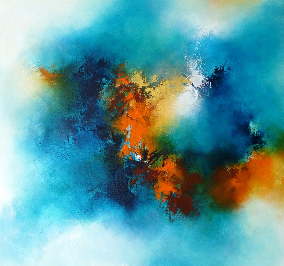 Spiritual by Ranjit Patil, Abstract Painting, Acrylic on Canvas, Cyan color