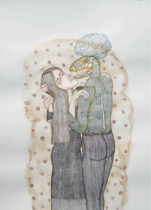 Poisonous Kiss by Anjan Modak, Minimalism Painting, Watercolor on Paper, Gray color