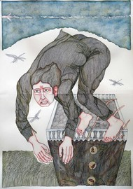 Dive From Dead Cell by Anjan Modak, Conceptual Painting, Watercolor on Paper, Gray color