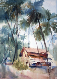An Old House In Gokarna by Vikrant Shitole, Impressionism Painting, Watercolor on Paper, Green color