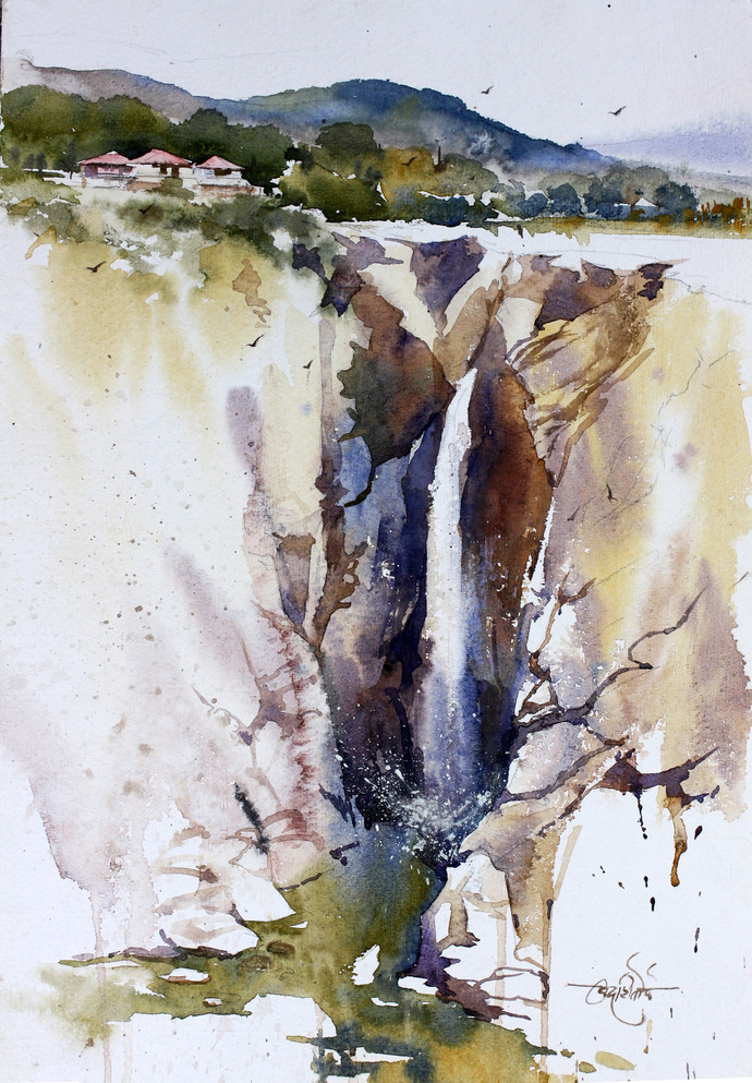 Jog Falls by Vikrant Shitole, Impressionism Painting, Watercolor on Paper, Gray color