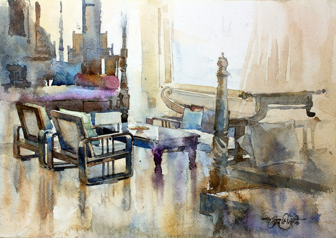 Shruti's House by Vikrant Shitole, Impressionism Painting, Watercolor on Paper, Beige color