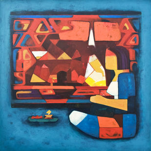 The Worship by Dipak Asole, Decorative Painting, Acrylic on Canvas, Blue color