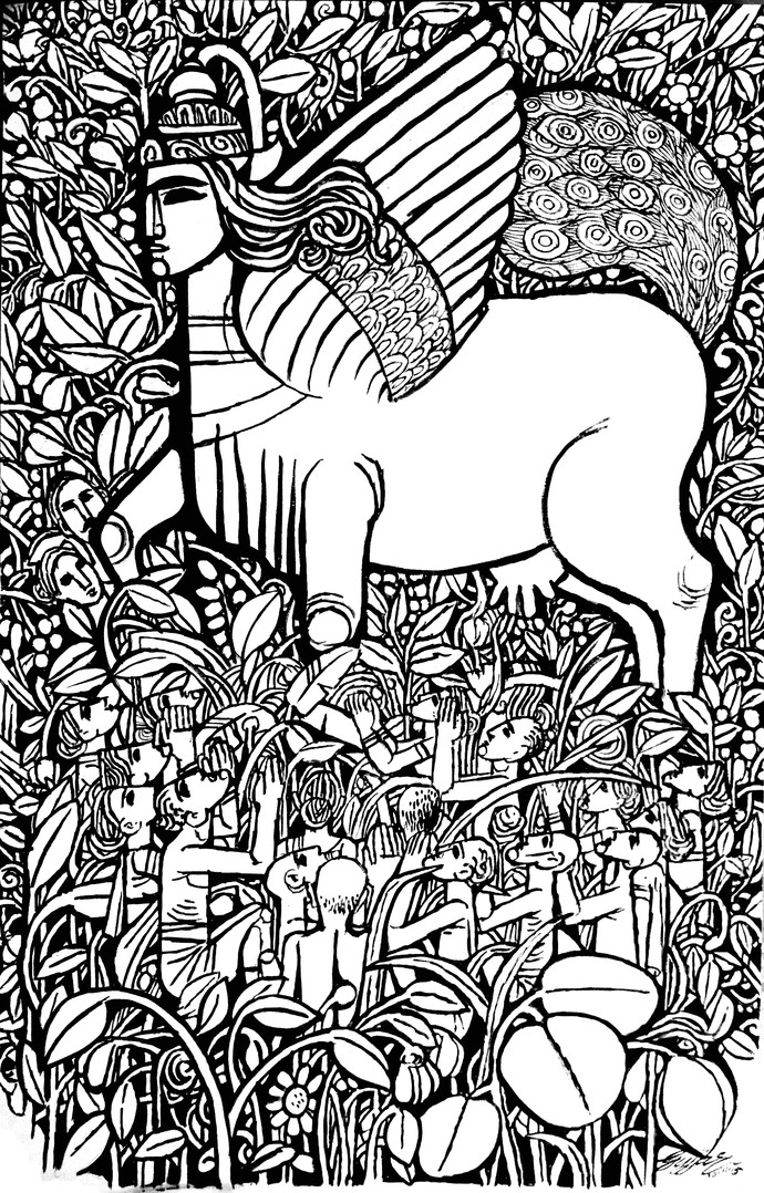 Kamadhenu 2 Digital Print by Gujjarappa B G,Illustration