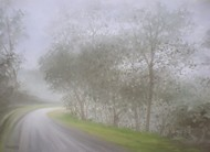 Foggy Way by Fareed Ahmed, Impressionism , Oil on Canvas, Gray color