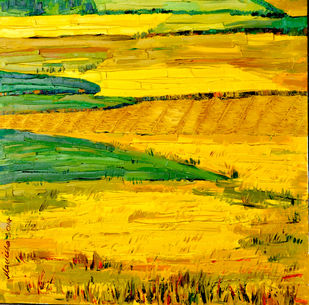 Golden Harvest by Manisha, Impressionism , Oil on Canvas, Yellow color