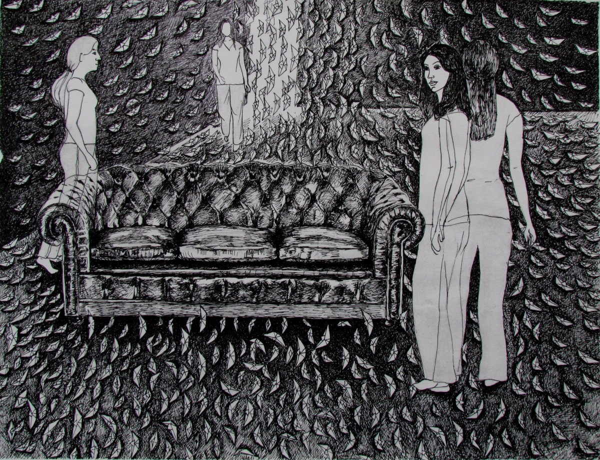 Untitled by Banita Bhau, Illustration Drawing, Pen on Paper, Gray color