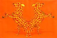 Untitled by Lalit Vikamshi, Decorative Painting, Acrylic on Canvas, Orange color