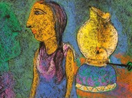 Lady With Lamp by Manoj Dutta, Naive Painting, Pastel on Paper, Green color