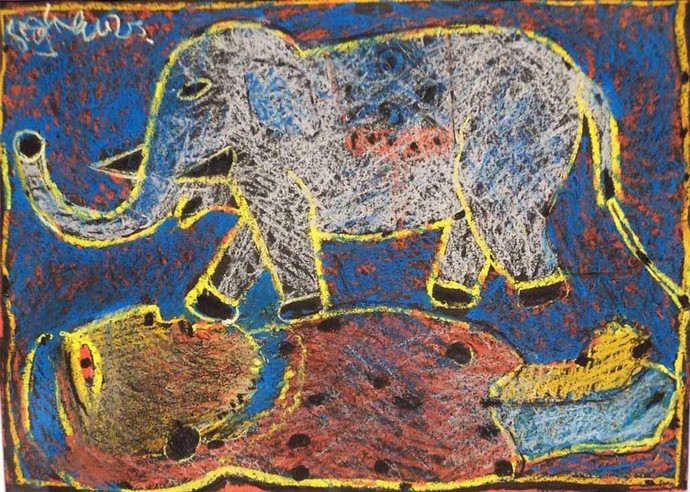 Untitled by Manoj Dutta, Naive Painting, Pastel on Paper, Brown color