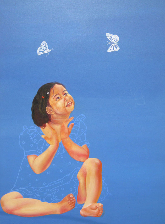 Untitled by Nilansu Bala Sasamal, Pop Art Painting, Acrylic on Canvas, Blue color