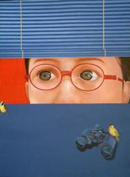 Untitled by Nilansu Bala Sasamal, Pop Art Painting, Acrylic on Canvas, Blue color