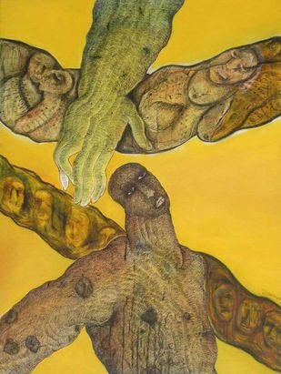 Untitled by Naba Kumar Das, Conceptual Painting, Mixed Media on Canvas, Brown color