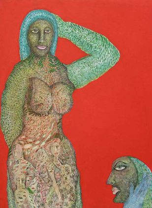 Untitled by Naba Kumar Das, Conceptual Painting, Mixed Media on Canvas, Red color