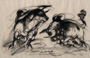 Bulls by Partho Dutta, Illustration Drawing, Charcoal on Paper, Brown color