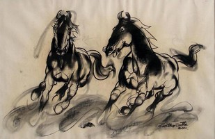 Horses by Partho Dutta, Illustration Drawing, Charcoal on Paper, Beige color