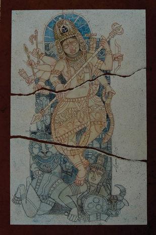 Durga by Arun Kumar Samadder, Illustration Painting, Mixed Media on Paper, Gray color